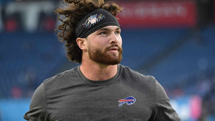 Oct 18, 2021; Nashville, Tennessee, USA; Buffalo Bills tight end Dawson Knox (88) leaves the field after warmups before the game against the Tennessee Titans at Nissan Stadium. Mandatory Credit: Christopher Hanewinckel-USA TODAY Sports