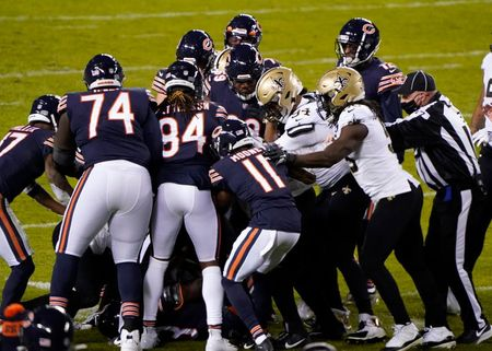 Bears WR Javon Wims was suspended for punching a Saints' player